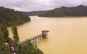 Very high sediment levels can be seen in the dams in the Hunua Ranges.
