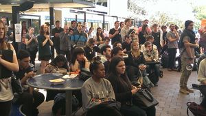 Students listen to speakers at an Auckland University protest.