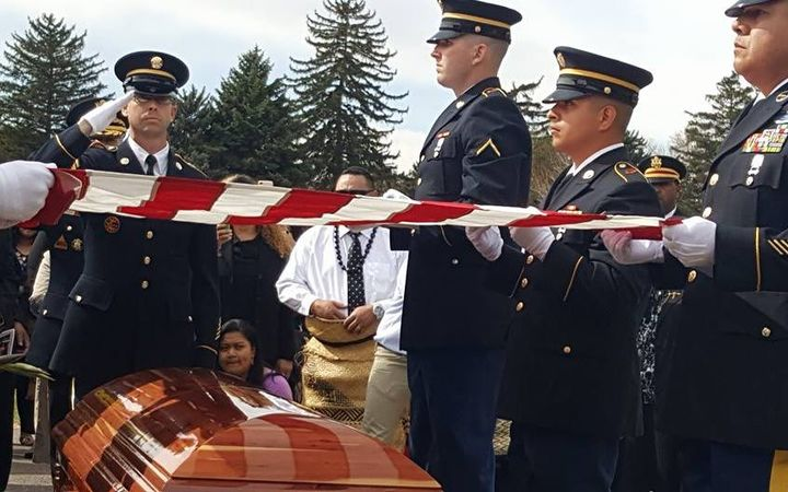 Former American Samoa Congressman Faleomavaega Eni Hunkin was laid to rest at the Provo Cemetery in Provo Utah on Sunday with full military honours for the Vietnam War veteran.