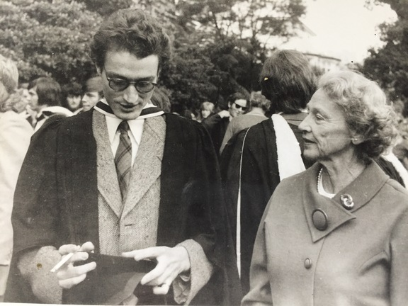 Peter Wells graduating in 1974, with his mother Bess alongside him.