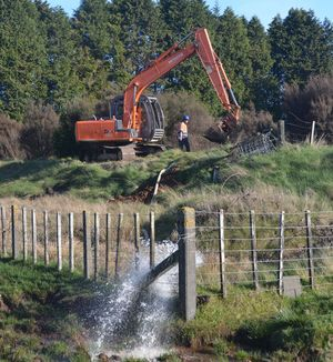 Contractors draining settling ponds that form part of the Raetihi water supply.