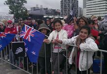 Supporters at the official welcome home event for Team New Zealand.