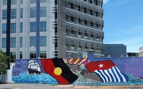 Artwork by June Mills supporting the plight of West Papuans.