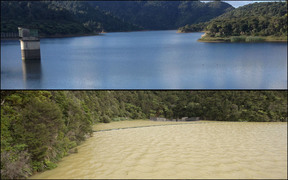 The level of silt in the Hunua dam system can be easily seen in before and after photos.