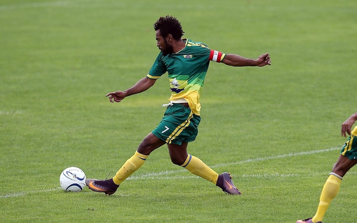 Lae City Dwellers' captain Raymond Gunemba scores the opening goal against Malampa Revivors.