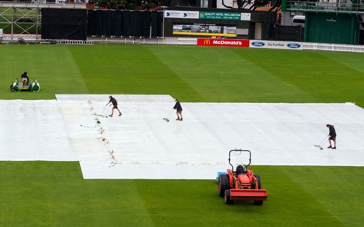 The Basin Reserve pitch has been under cover for several days.