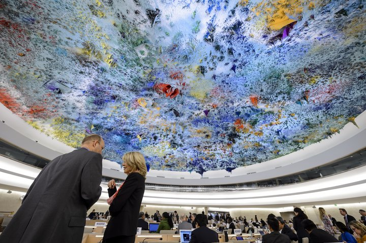 Delegates speaks prior to the opening of a session of the Human Rights Council on the Palestinian territories situation on March 23, 2015 in Geneva. (redownloaded 21/12/18)
