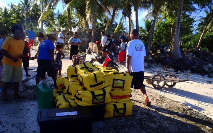 Grab bags ready to go on Tuvalu.