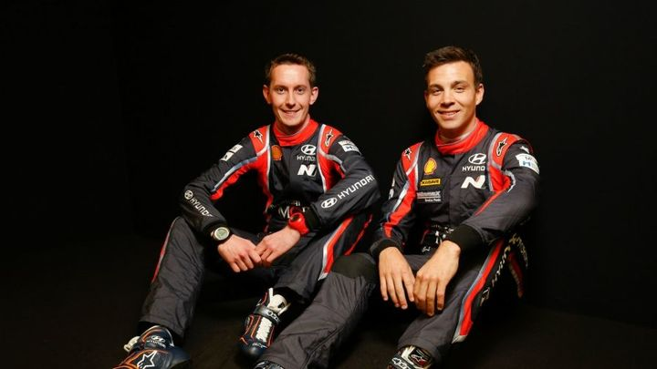 Hayden Paddon (R) with his new co-driver Seb Marshall of Great Britain.