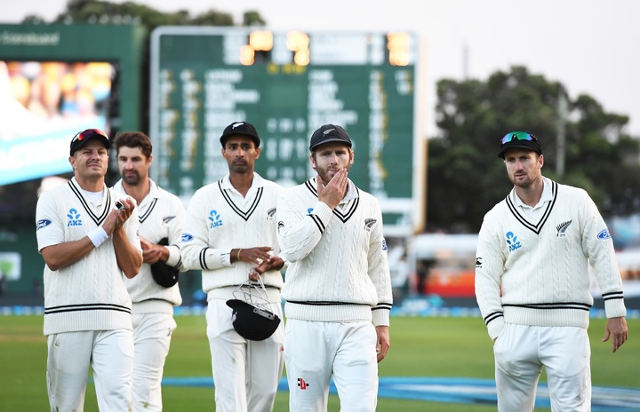 Kane Williamson leads his team from the field after defeat on Day 3 of the 2nd test match between New Zealand Black Caps and South Africa Proteas. International test match cricket in Wellington on 18 March 2017.
