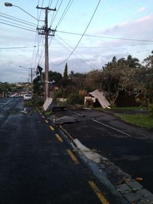 Damage in Devonport's Vauxhall Road.
