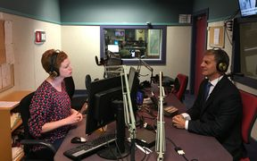Prime Minister Bill English in the Wellington studio with presenter Susie Ferguson.