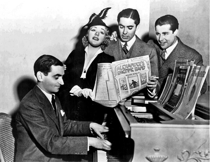 Irving Berlin and stars of the movie Alexander's Ragtime Band
