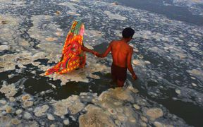 Hindu devotees bathing in the polluted river Ganges near Sangam in Allahabad.
