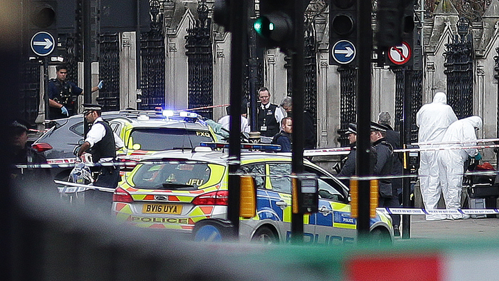 Armed police and forensic officers near a vehicle that crashed into the railings outside the House of Commons in central London.