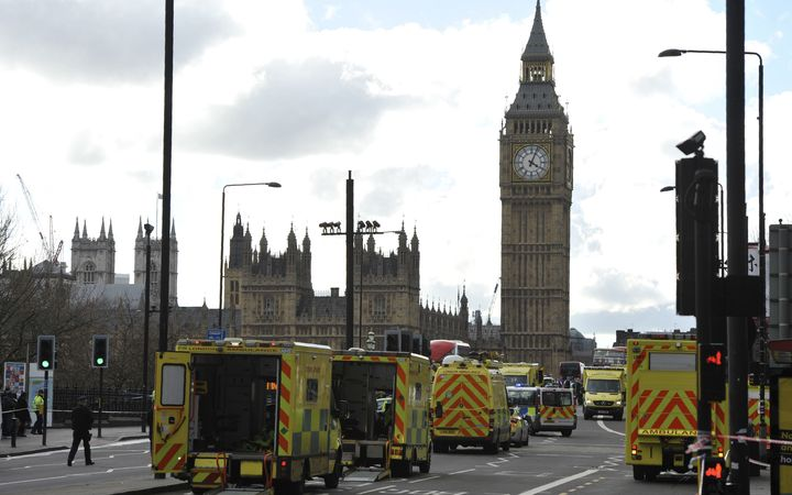 Emergency services on Westminster Bridge.