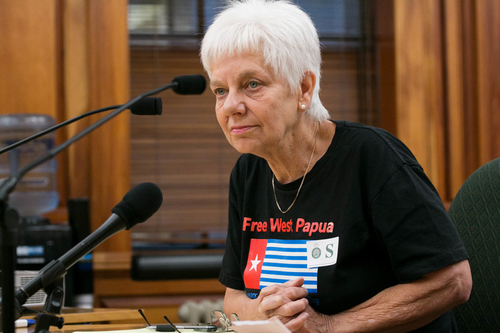 Maire Leadbeater presents her petition asking urging the government to address the ongoing human rights situation in West Papua.