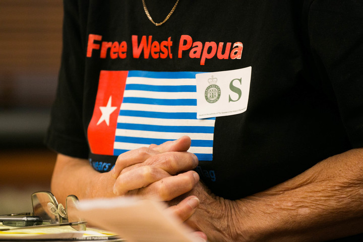 "Maire Leadbeater wears a ""Free West Papua"" shirt as she answers questions on her petition urging the government to address human rights issues in West Papua."