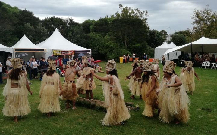 Traditional Tahitian dancing at the Tahiti village at Pasifika Festival 2017.