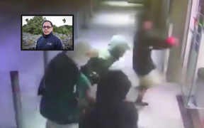 Ben Dalton, inset, and footage of youths attacking the Mobil in Kaikohe.