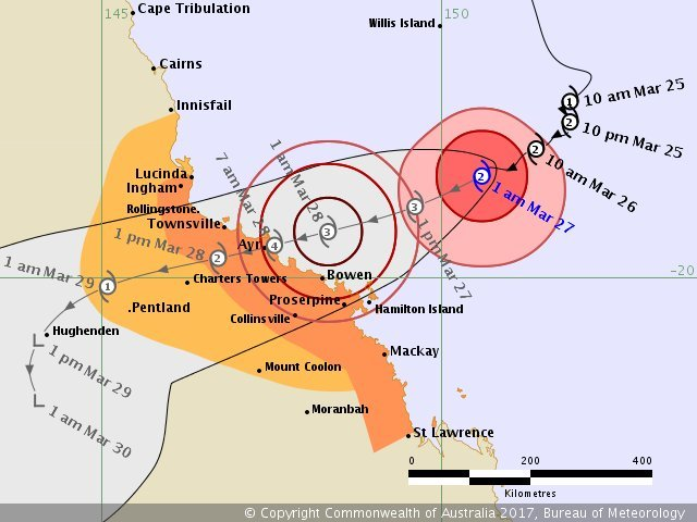 A track map for Cyclone Debbie.