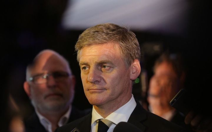 Bill English speaks at a press conference after meeting with Chinese Premier Li Keqiang.