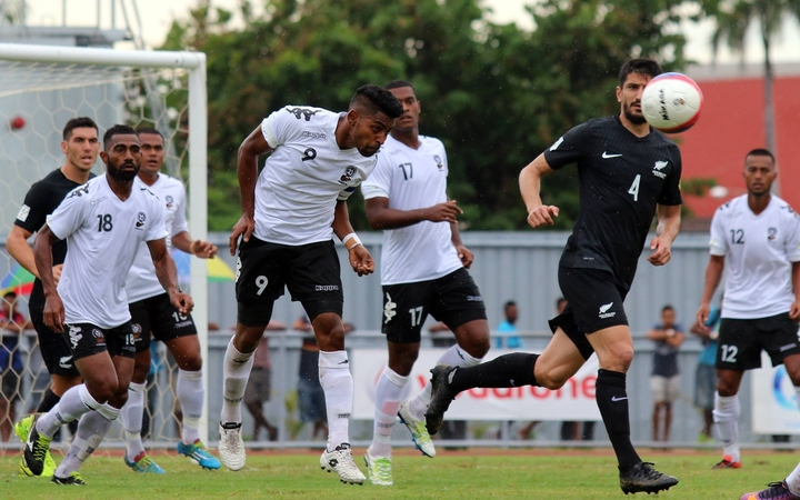 Roy Krishna heads the ball during their 2-0 defeat to New Zealand in Lautoka.