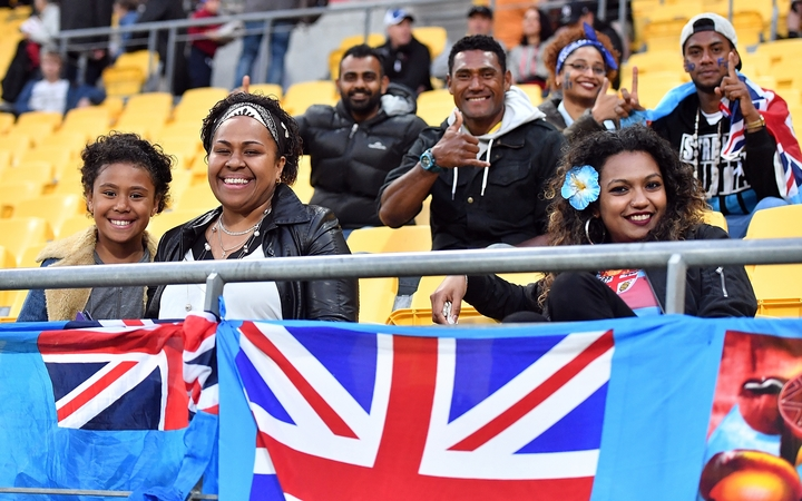 Fiji fans cheer on their team against the All Whites.