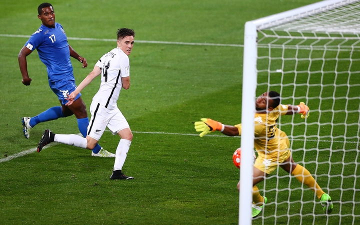 All Whites midfielder Ryan Thomas heads in to score his 2nd goal against Fiji.