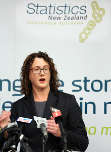 Government Statistician Liz MacPherson announcing 2013 census results.
