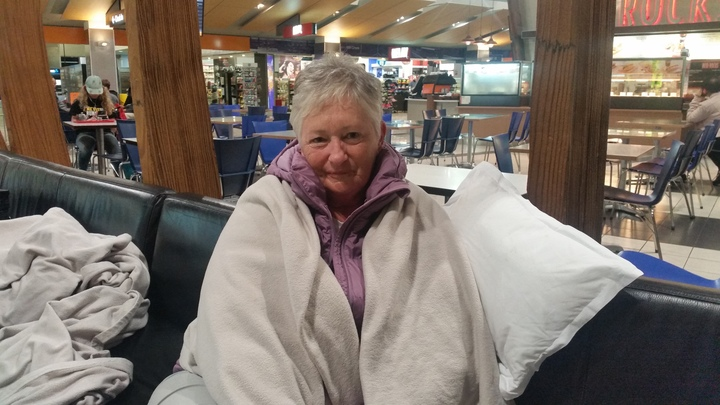 Irene Irving slept the night at Wellington Airport. Photo taken 30 March.