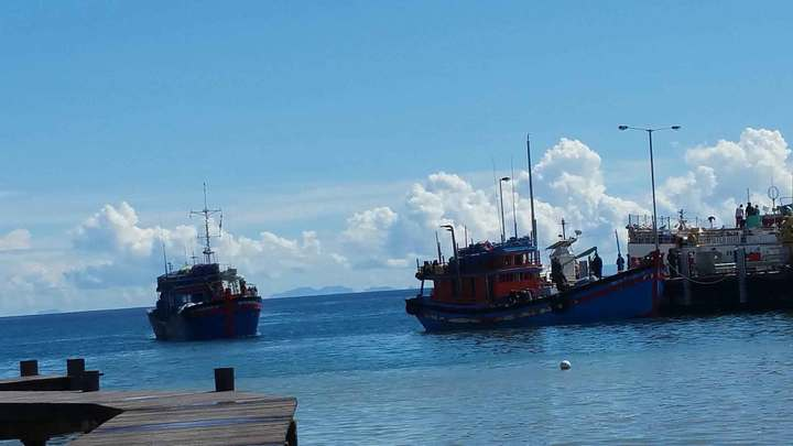 Vietnamese blue boats seized in Solomon Islands Rennell and Bellona province, for allegedly fishing illegally off of Indispensable Reef, dock at the Patrol Boat Base in Honiara on Wednesday 29-03-2017.