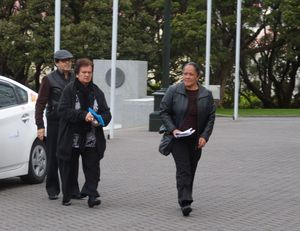 Boad members Toni Waho, left, Druis Barrett and Tina Ratana arrive at Parliament.