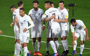 The All Whites celebrate a goal against Fijji in their Russia 2018 World Cup qualifier.