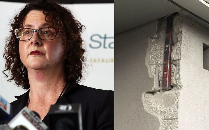 Government Statistician Liz MacPherson and some of the damage suffered at Stats House.