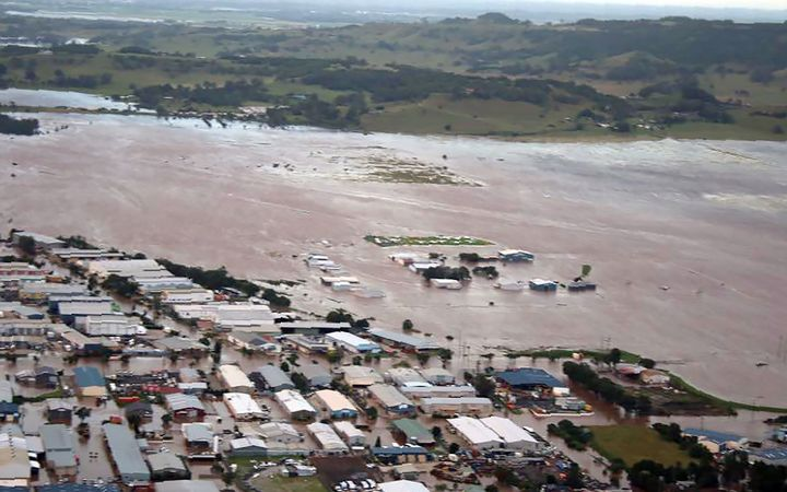 An aerial view of Lismore, northern NSW after flooding from heavy rain following Tropical Cyclone Debbie.