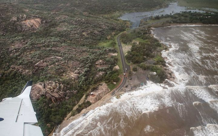Damage near Bowen, Queensland, can be seen from the air after the area was hit by Cyclone Debbie.