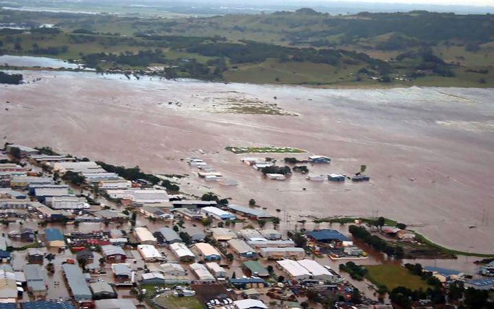 An aerial view of the flooding in the northern New South Wales town of Lismore after the area was hit by Cyclone Debbie.