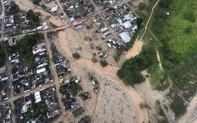 An aerial view of the landslides caused by heavy rains, in Mocoa, Putumayo.