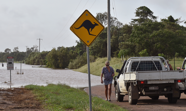 Flooding in the Burdekin River in Ayr in Queensland on Thursday.