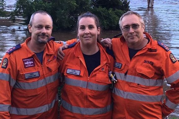 Rescuers Chris Holloway, Claire Browning and Jim Ferguson.