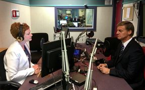 Prime Minister Bill English speaking with Susie Ferguson in RNZ's Wellington studio.