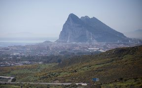 The Gibraltar Rock is pictured from La Linea de la Concepcion near ther southern Spanish city of Cadiz on March 28, 2017.