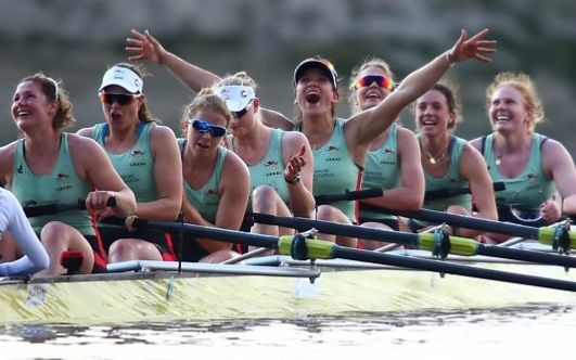 Oxford University celebrate their victory in the annual boat race against Cambridge on the Thames.