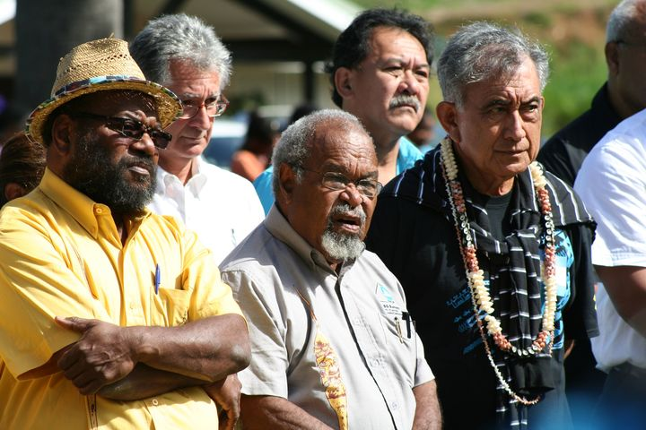 Papua New Guinea's Michael Somare (centre) is one of the Pacific Islands region's longest serving and most respected leaders. Here he is flanked on the left by Kanak leader Victor Tutugoro and to the right by French Polynesia's Oscar Temaru, in Noumea, 2013.
