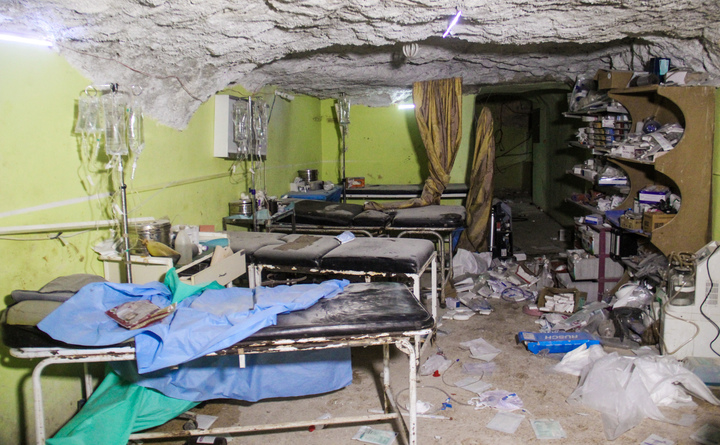 Damage at a hospital in Khan Sheikhun after a suspected chemical attack.