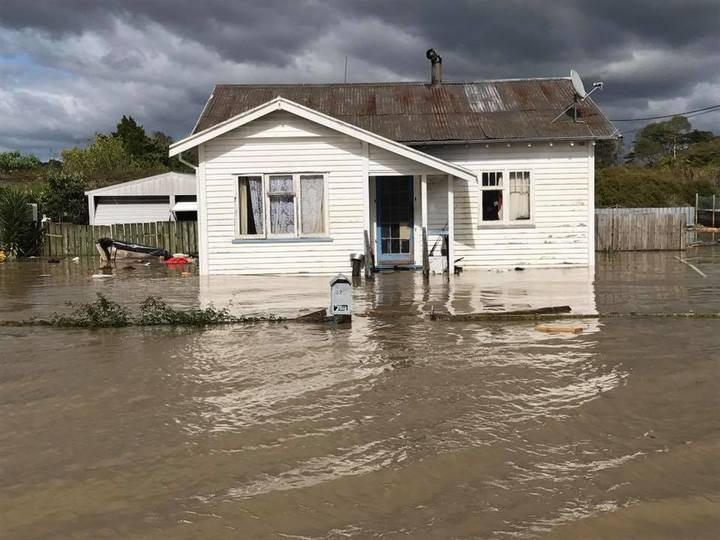 A flooded home in Edgecumbe