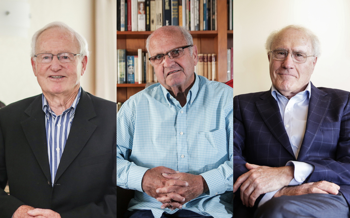 Ex-Prime Ministers Jim Bolger, Mike Moore and Geoffrey Palmer