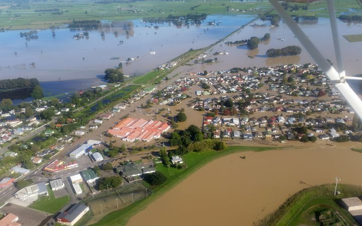 A view from the air of the Edgecumbe flooding.
