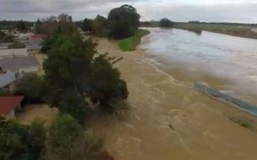 Drone footage of the Rangitāiki River, where it burst its banks, flooding Edgecumbe.